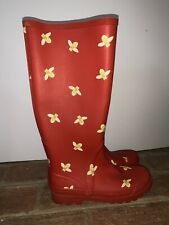 J Crew Honey Bee on Red Galoshes Rain Boots UNIQUE DESIGN Womens Size 6 ❤️tb9j10