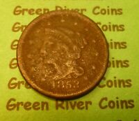 1853  U S Braided Hair Large  Cent   #53       (1839-1857) corrosion