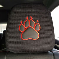 Black Spacer Mesh Embroidered Red Leatherette PAW Car Headrest Cover Set 1