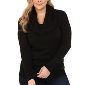 NWT Michael Kors Black Cowl Turtleneck Waffle Knit Mid Weight Sweater Black M