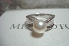 "Authentic ""MIKIMOTO"" Platinum 8.3mm Akoya Pearl &   Diamond Ring"