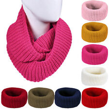 Womens Winter 2 Circle Cable Knit Cowl Warm Infinity Neck Long Scarf Shawl Gifts