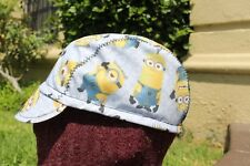 CYCLING CAP MINIONS 100% COTTON  HANDMADE IN USA  ONE SIZE ANY SIZE