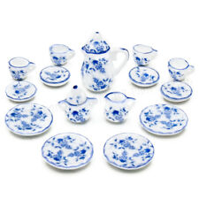 15PCS Porcelain Tea Set 1:12 Dollhouse Beauty Ceramic Coffee Cup Miniature Decor