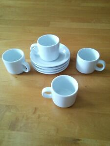 Pier 1 Espresso Cup and Saucer Set of 4 White