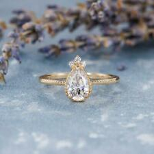 0.75Ct Pear Cut  White Moissanite Antique Engagement Ring 14K Yellow Gold Plated