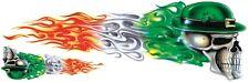 Aufkleber Irischer Flammen Totenkopf rechts 20x6cm Irish Flame Skull Right Decal