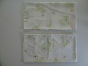 Springmaid King Size Daisy Pillowcase (2) VTG Floral Cotton 70s Flower Yellow