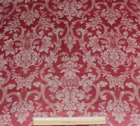 French Antique 19thC Turkey Red Woven Floral & Scroll Frame Fabric~Christmas Red