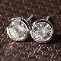 3Ct Round Brilliant Cut Moissanite Bezel Set Stud Earrings 14k White Gold Finish