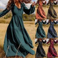 ZANZEA Women Puff Sleeve V-Neck Patchwork Kaftan Dresses Long Maxi Plus Size