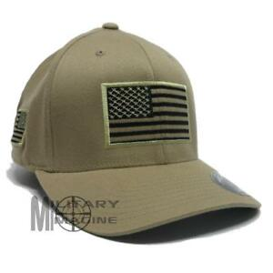 USA American Flexfit Structured Tactical Cap Military Army small US Flag On Side