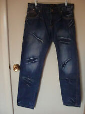 Mens 34 x 33 K & M Kosmo Lupo Italian Jeans Winged Embroidered Distressed Denim