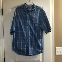 Carhartt Plaid Short Sleeve Shirt Men's Blue Button Down - Size Small EUC