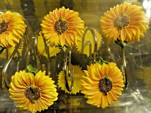 new 12 pc SUNFLOWER shaped SHOWER CURTAIN HOOKS~ yellow brown Floral Flowers