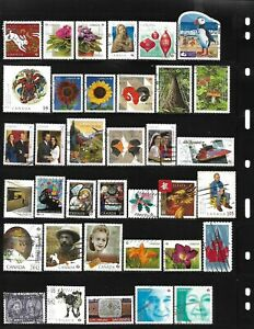 Canada 2007-2013, 100 different used stamps off paper recent stamps see 3 photos