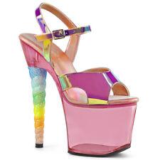 """Pleaser 7"""" pink glitter unicorn heel platform sandals"""