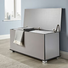 Ottoman Storage Chest Grey Toy Chest Bedding or Blanket Box Large Wooden