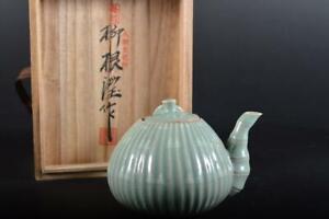 #20: XF Korea Goryeo celadon TEAPOT Kyusu Sencha, auto w/signed box Tea Ceremony