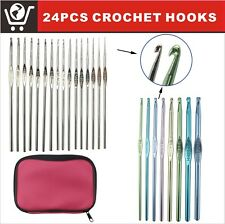 LAYOER 24 pcs Aluminium Crochet Hooks Yarn Knitting Needles Set Sewing Tools