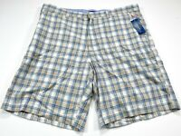 Club Room 38 Blue Brown Check Men's Shorts Cotton 38x10 NEW NWT