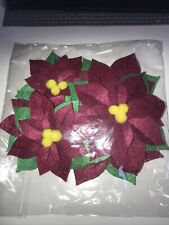 New listing New Set of 6 Felt Poinsettia Package Toppers