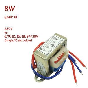 8W Power Monophase Transformer AC 220V to 6/9/12/15/18/24/30V Single/Dual EI48