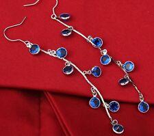 Blue Zircon Crystals White Gold Plated Drop Dangle Women Long Tassel Earrings