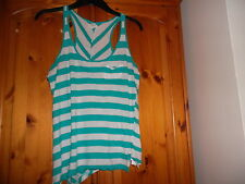 Green and white stripe sleeveless top, asymetric hem, NEW LOOK, size 8
