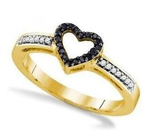 Black and White Diamond Ring 10K Yellow Gold Black Diamond Heart Ring .12ct