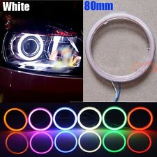 2x 80mm White Car Headlight Angel Eye Cob Halo Ring LED Lights Warning Lamp DRL