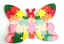 Wooden butterfly jigsaw/puzzle with numbers & letters,colorful educational toy