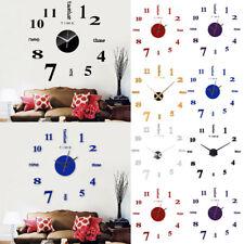 Frameless DIY Wall Mute Clock 3D Mirror Surface Sticker Home Office Decoration O