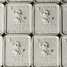"""Rose I Love You"" Design. Lot of 10, 1 gram .999 Fine silver bullion bar."