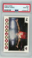 LeBron James Cavaliers 2008 Topps Chalk Toss Basketball Card #23 PSA 10 GEM MINT