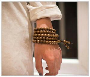 Bracciale Uomo Donna Mala Tibetano Collana in Legno Rosario Buddista + Sacchetto