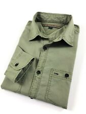 TOMMY HILFIGER Shirt Men's Military Green Double Pocket Custom Fit Long Sleeve