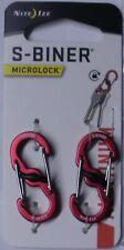 Nite Ize S-Biner MicroLock Aluminum 2 Pack Red Double gated LSBMA-10-2R6 L@@K!!!