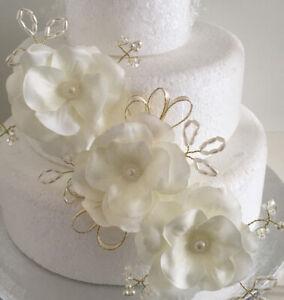 Wedding Flowers Ivory Cake Topper Decoration Ivory Flower Spray Wedding Cake