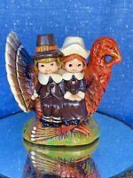 Vintage Chalk Ware Pilgrim Girl & Boy & Thanksgiving Turkey Candle Holder ❤️sj3j