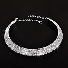 RHINESTONE BLING WRAP CHOKER NECKLACE SILVER TONE FULLY CRYSTAL COLLAR CH449S