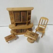 DOLLS HOUSE FURNITURE  WOODEN SIDEBOARD  TABLE AND CHAIRS