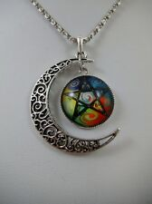 Wiccan Crescent Moon Five Elements Pentacle Glass Pendant Pagan Wicca Occult