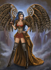 Signed Sexy Steampunk Winged Girl Pin-up 13x17 Art Print Realism Sandra Chang