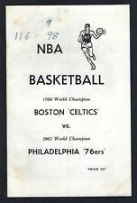 1968-69 NBA BOSTON CELTICS v PHILADELPHIA 76ERS BASKETBALL PROGRAM -NUETRAL SITE