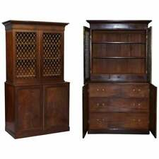 RARE 19TH CENTURY MAHOGANY PIERCED BRONZED DOOR BOOKCASE WITH CHEST OF DRAWERS