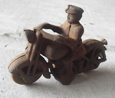 Vintage 1940s Cast Iron Policeman on Motorcycle Very Rusted LOOK
