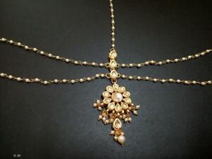 Traditional Gold Plated Kundan Studded Designer Ethnic Maang Tikka for Woman V1