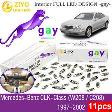 11 Bulbs Deluxe LED Interior Light Kit Xenon White For (W208) 1997-2002 Benz CLK