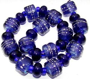 """Sistersbeads """"B-Blue Violet"""" Handmade Lampwork Beads"""